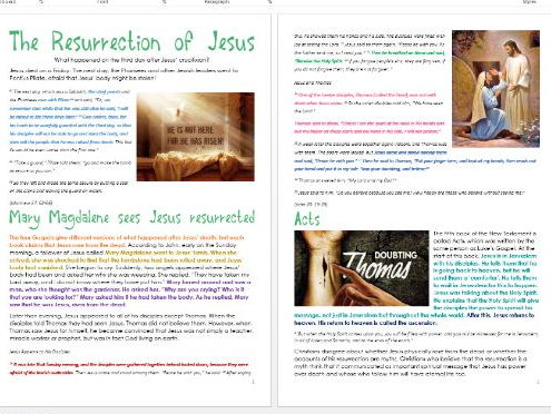 Jesus in Jerusalem: The Resurrection of Jesus: Differentiated Activity Sheets