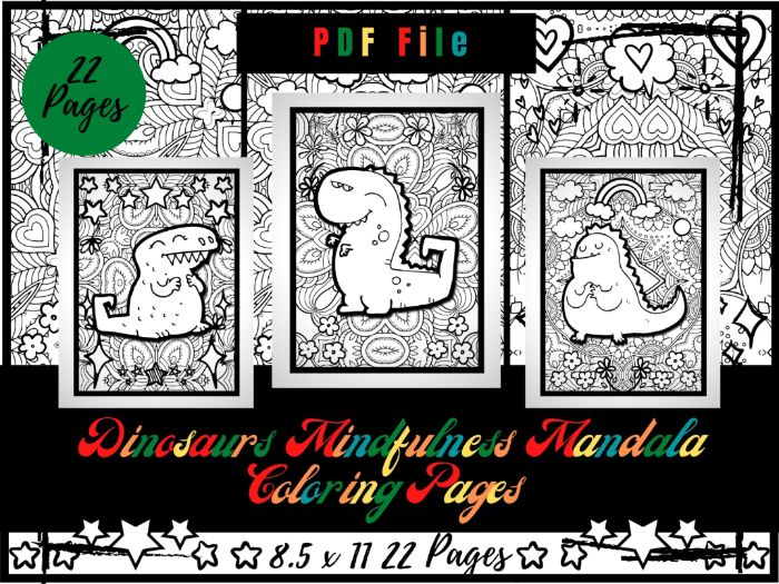Adorable Dinosaurs Mindfulness Mandala Colouring Pages, Printable Sheets PDF