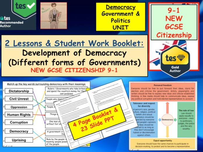 NEW GCSE Citizenship (9-1) Democracy and forms of Government. UK Politics x2 Lessons