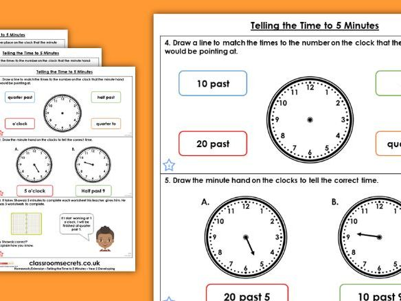 Year 2 Telling Time to 5 Minutes Summer Block 1 Maths Homework Extension