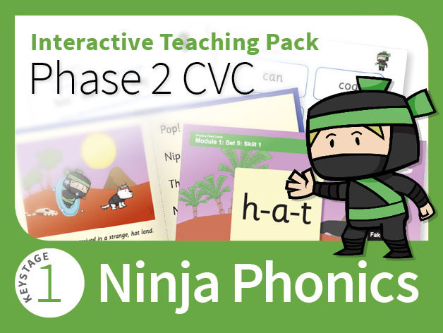 Ninja Phonics 1 - Interactive Teaching Pack - Phase 2 CVC