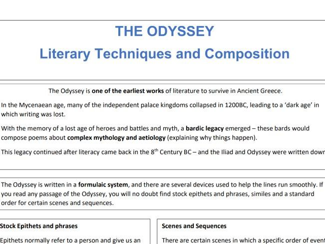 OCR J199/21 - Content of the Homeric World, Literature: The Odyssey, literary techniques