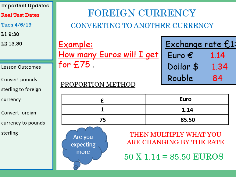 GCSE Maths/Functional SKills-Currency Exchange Lesson