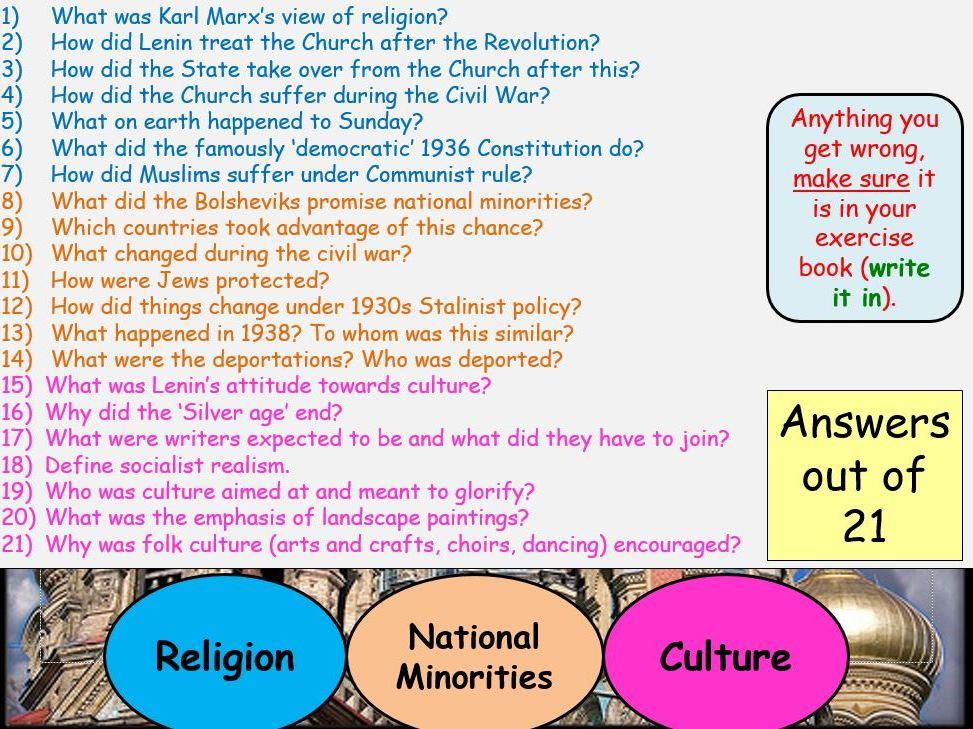 AQA A-Level Tsarist & Communist Russia Lesson 73 (Religion & National Minorities)