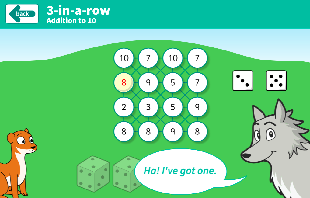 Addition to 10 - 3-in-a-row Interactive Game - KS1 Number