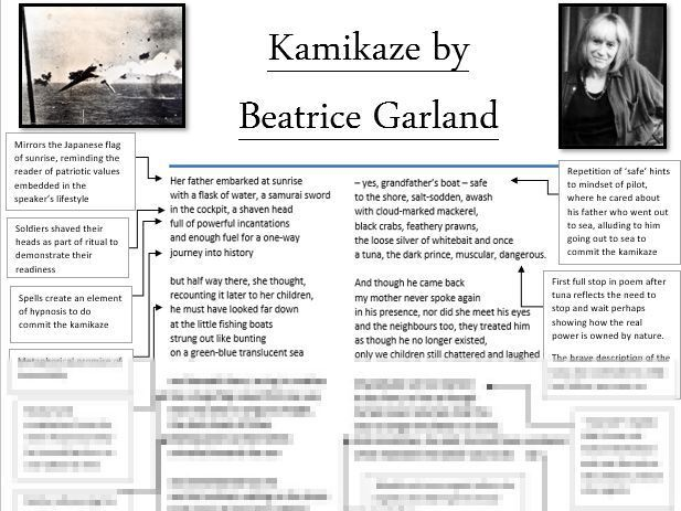 LEVEL 9 Kamikaze poem annotations, analysis and context sheet