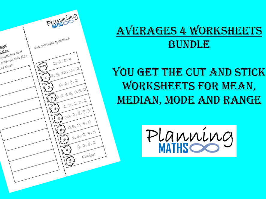 Averages cut and stick worksheets