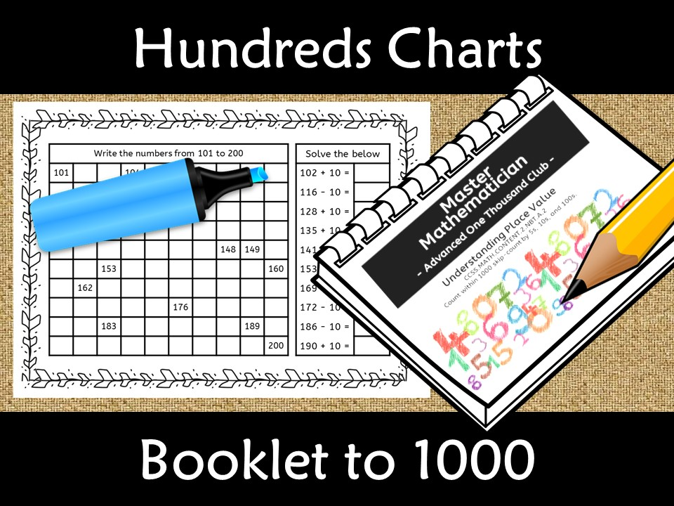Counting from 1 to 1000 Number Charts with add/sub 10
