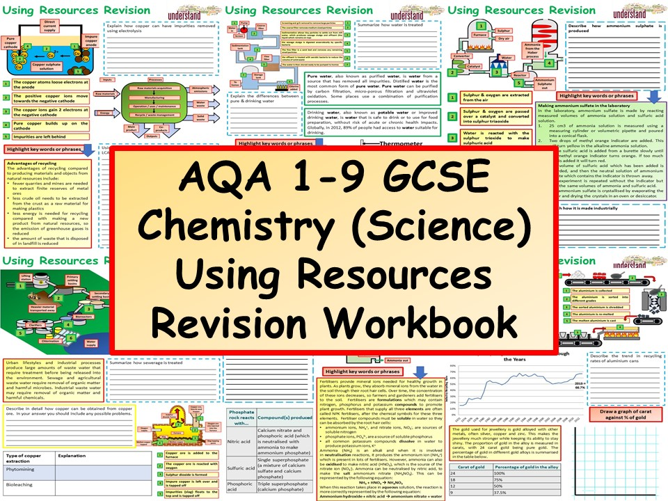 AQA 1-9 GCSE Chemistry (Science) Using Resources Revision Workbook