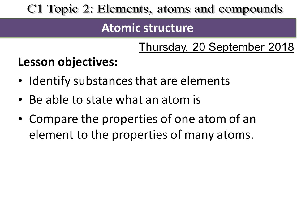 Activate 1 KS3 Chemistry Chapter 2 Atomic structure and atoms