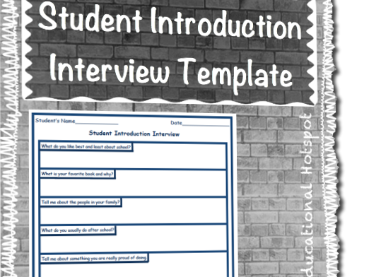Get To Know You Student Introduction Interview Questions Template