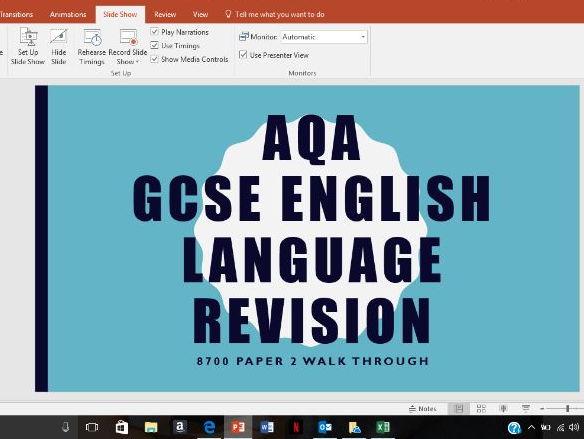 AQA GCSE ENGLISH LANGUAGE PAPER 2 WALK THROUGH POWERPOINT