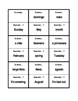 Days, Months, Seasons, Weather in Portuguese Eu tenho Quem tem