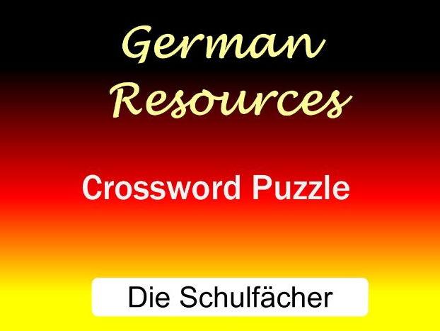 German Puzzles - Crossword - Die Schulfächer