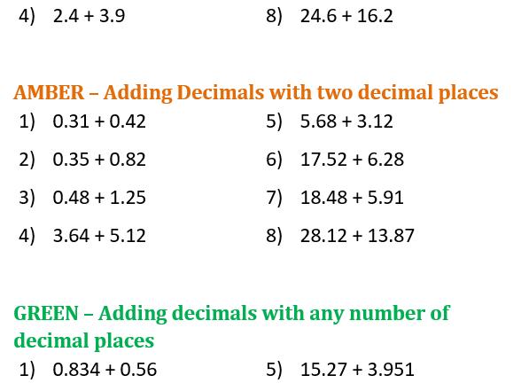 Adding Decimals Differentiated Worksheet