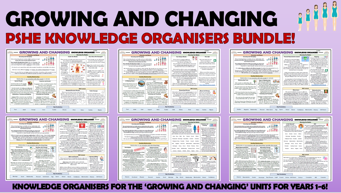 PSHE: Growing and Changing Primary Knowledge Organisers Bundle!