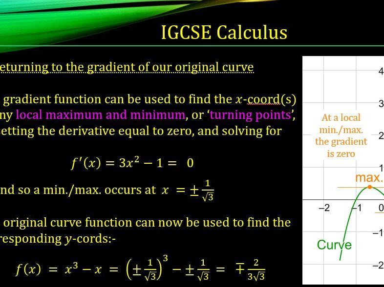 IGCSE Introduction to Calculus