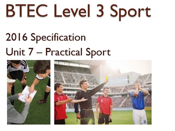 BTEC Level 3 Sport (2016) New Specification Unit 7 Learning Aim B & C