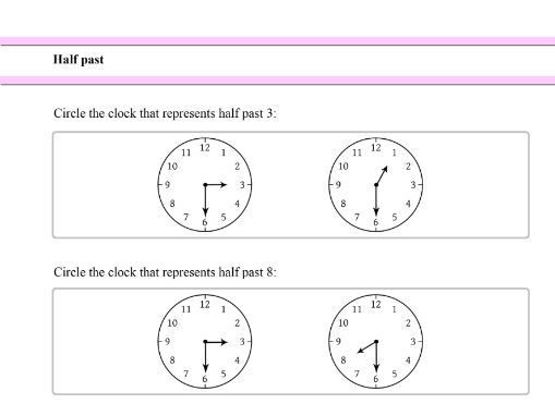 Telling the time (Half past) Introduction for Year 1 students