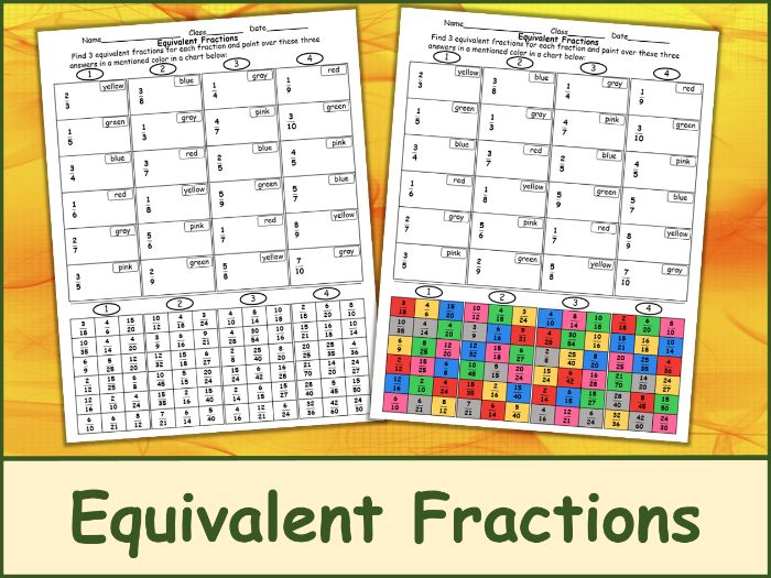 Equivalent Fractions Color Mosaic