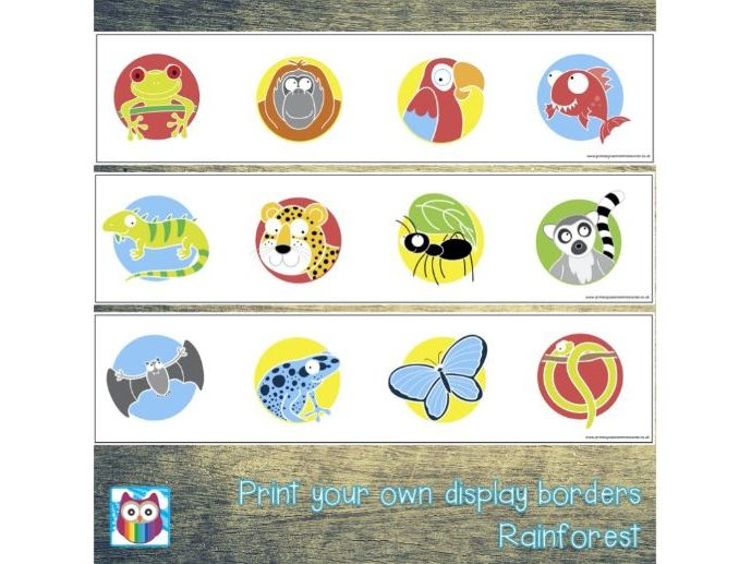 Print Your Own Rainforest Animals Display Borders