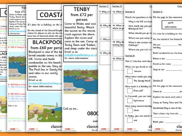 Year 2 Whole Class Guided Reading Coastal Holidays Physical Geography
