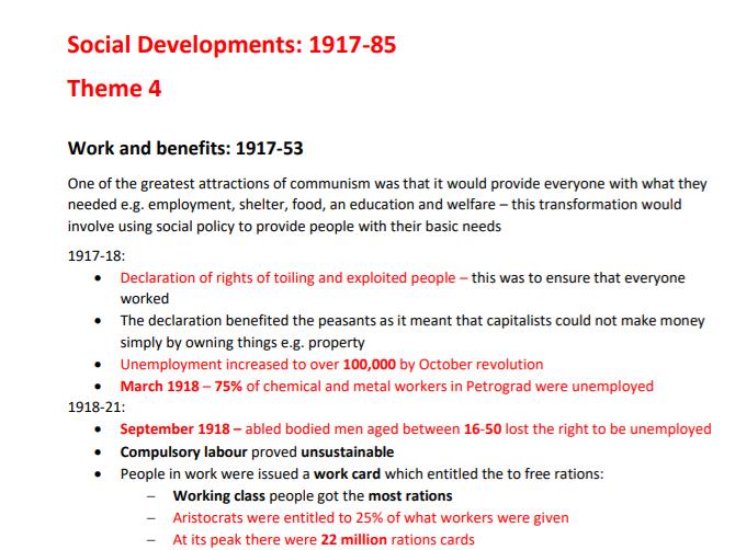 Edexcel A-level Russia 1917-85 - Theme 4