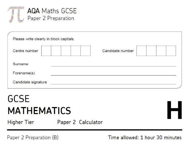 "AQA GCSE Maths Higher ""Predicted"" Paper 2 (2019) - Paper B"