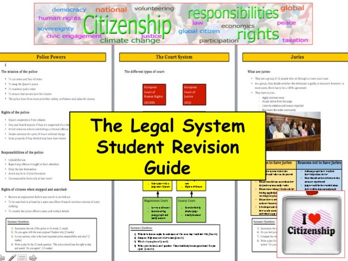 Citizenship 9-1 Three page Legal System Citizenship Revision Guide with Exam based activities