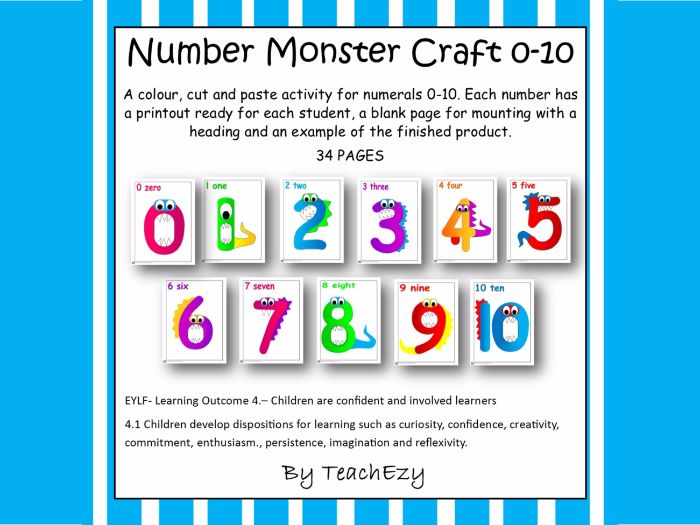 Monster Number Craft 1 to 10