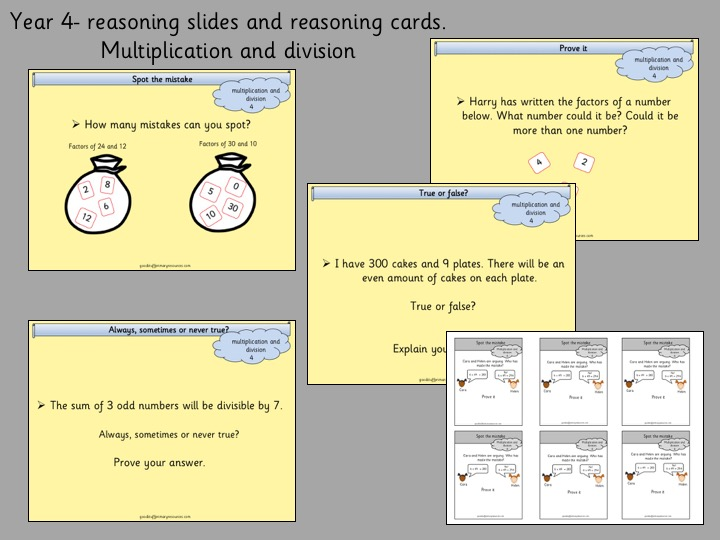 Reasoning Slides and Cards- Year 4- Multiplication and Division