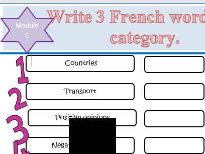 Studio AQA GCSE French- Module 5 Le Grand Large  category worksheet