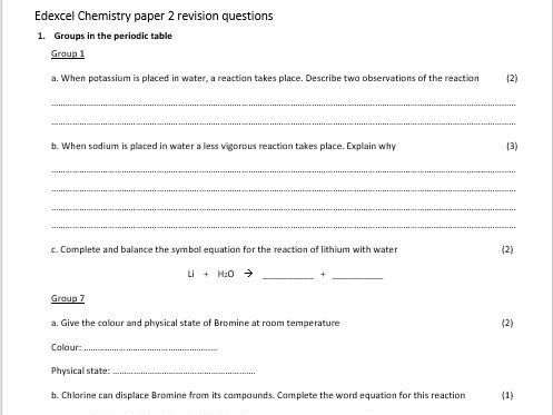 GCSE chemistry revision resources | Tes