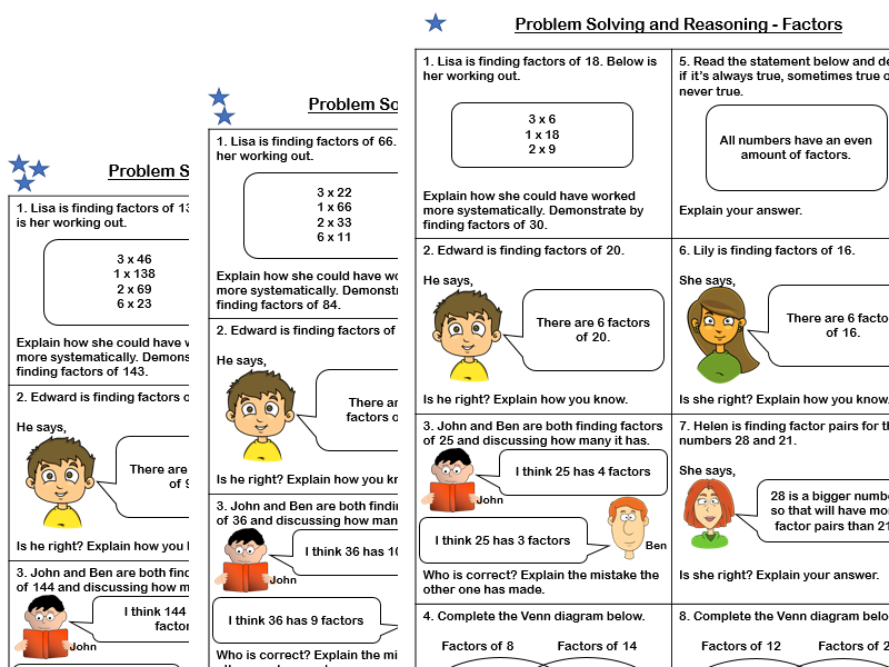 White Rose Maths - Year 5 - Block 4 - Factors (Problem Solving and Reasoning)