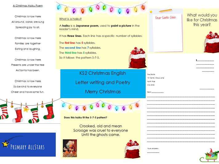 KS2 Christmas English Poetry and Letter Writing