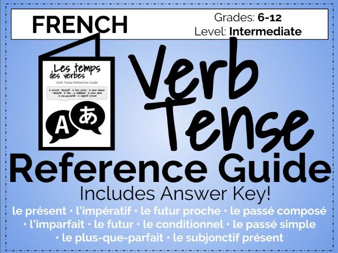 French Verb Tense Reference Guide Booklet