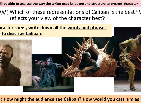 Who is Caliban? The Tempest. Full lesson and worksheet
