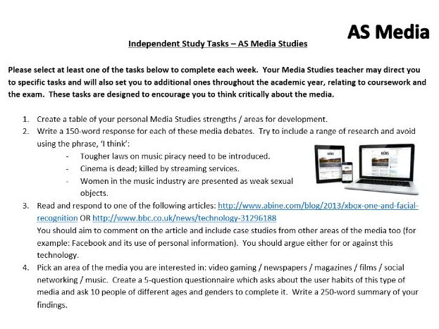 Media Studies A Level – 60 Independent Study / Homework Tasks