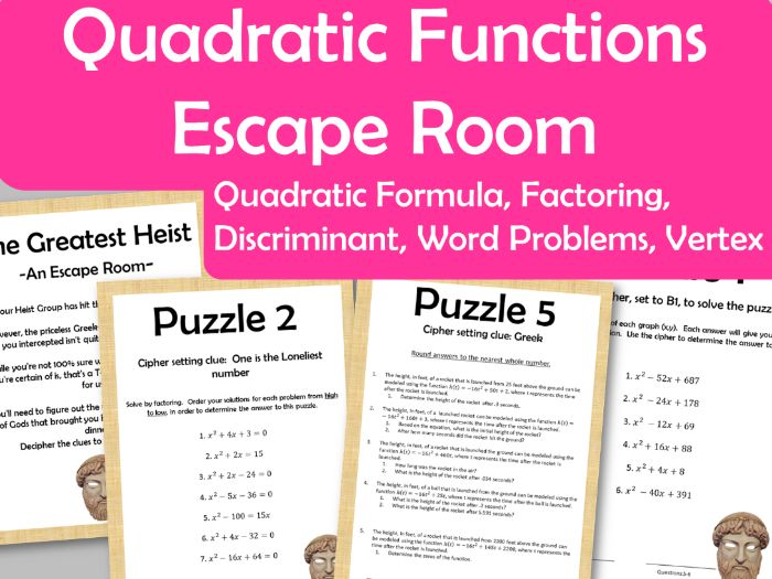 Quadratic Function Escape Room - Vertex, Factoring, Quad Formula, Discriminant, Word Problems
