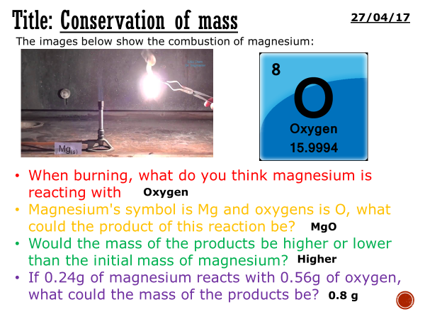Conservation of mass - complete lesson (KS3)