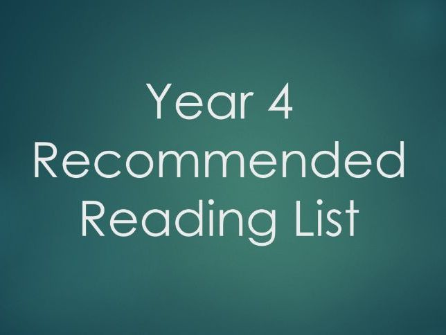 Year 4 - Recommended Reading List