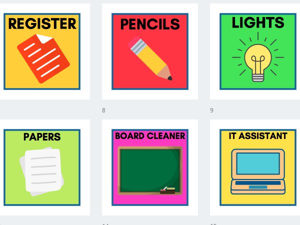 Classroom Responsibilities Job Display Pictures