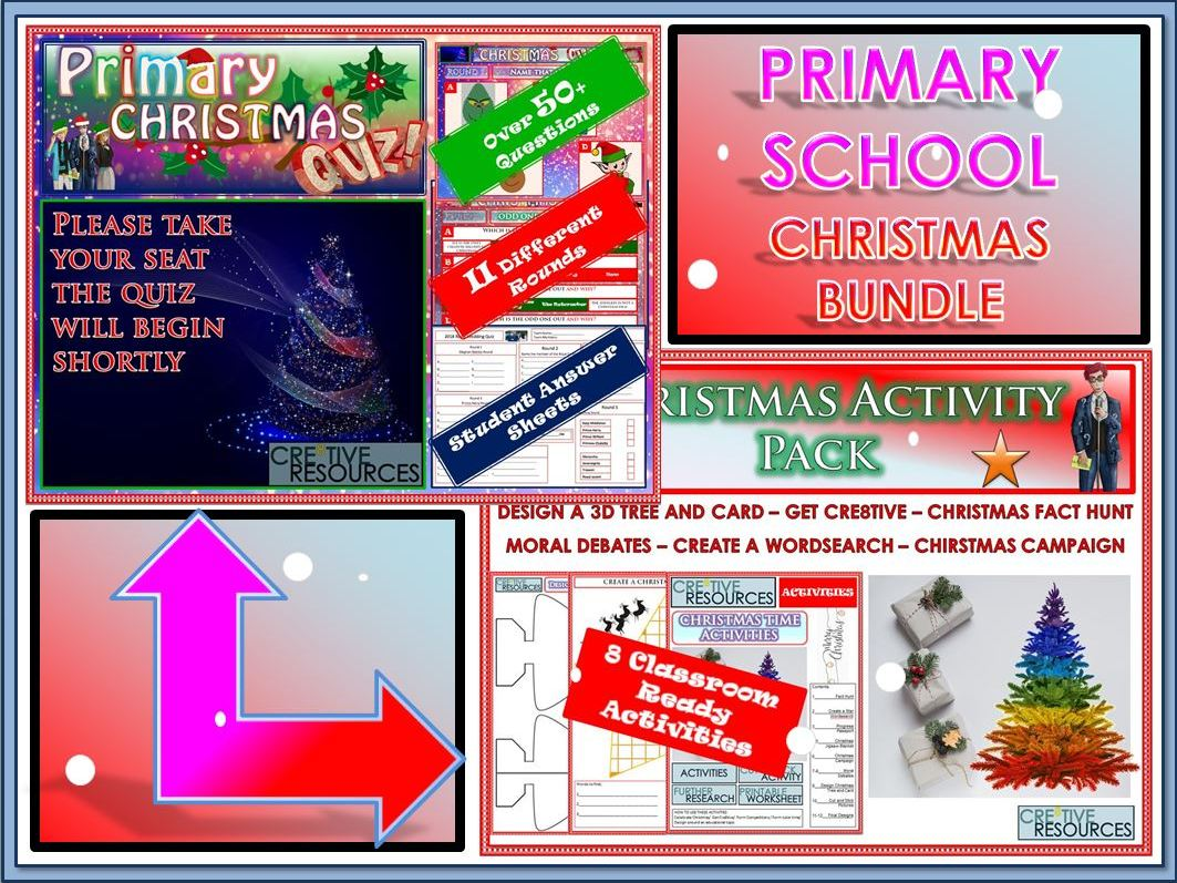 Primary Christmas Quiz and Activity  Bundle