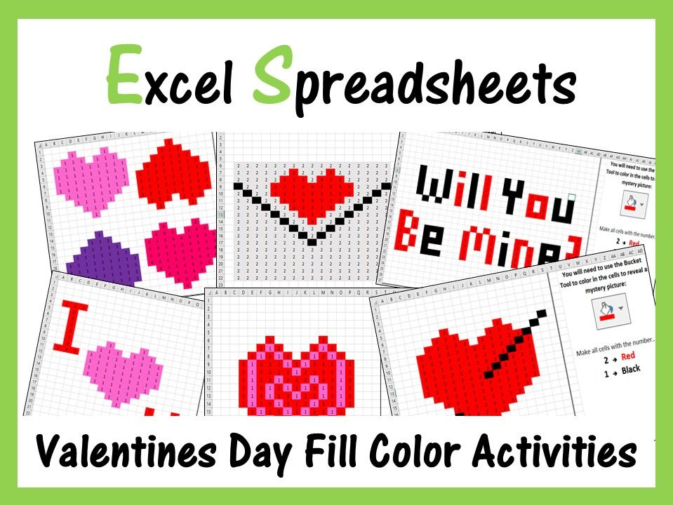 Excel Spreadsheets Valentines Day Mystery Pictures Fill Color - Computer Lab