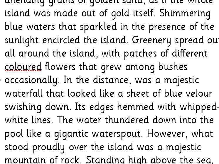 Year 5/6 WAGOLL setting descriptions