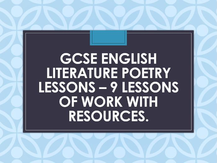 AQA GCSE English Literature Poetry lessons