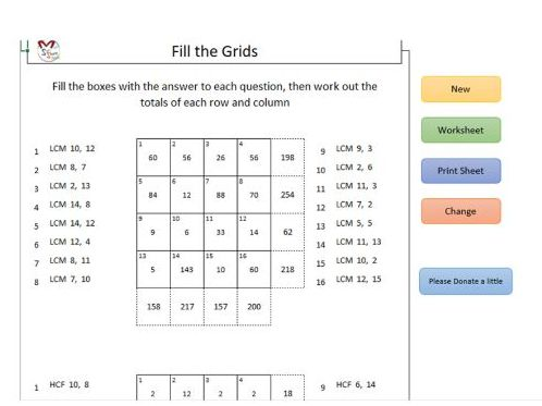 Fill the Grids LCM & HCF (Software)