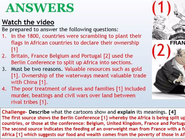 Year 7 2017 SOW Spring Term Africa 5) Colonisation of Africa (2) [SEN and High ability] WITH ANSWERS