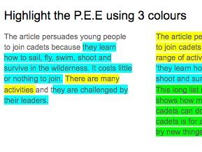 P.E.E. and proofreading using Army Cadets
