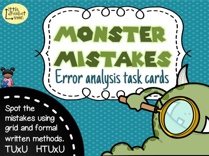 Error Analysis / Spot the Mistake Task Cards for Multiplication Methods in Yr 3 & 4